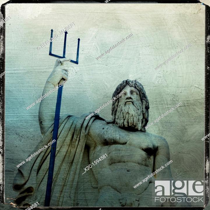 Stock Photo: Neptune statue, Piazza del Popolo, textured, Rome, Italy, Europe.