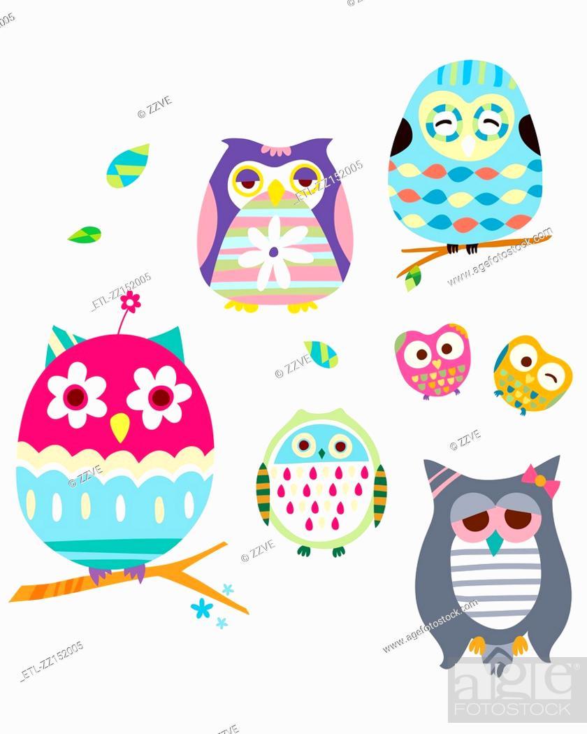 Stock Photo: various owls.