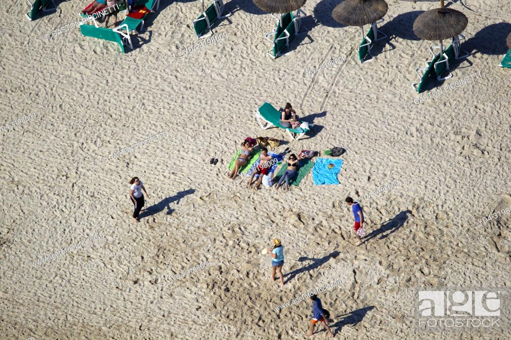 Stock Photo: People in the beach. Aerial view of the South Coast of the island of mallorca, Balearic Island, Spain. .