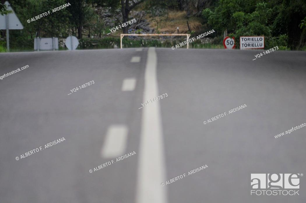 Stock Photo: Goal of football field as seen from the road, Torazo, Llanes, Asturias, Spain.