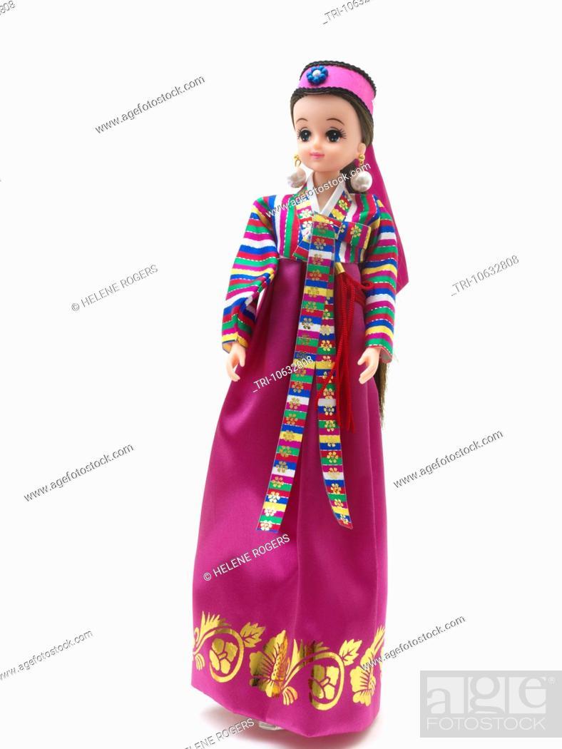 Korean Barbie Doll In Traditional Dress Wearing Hanbok South Korean