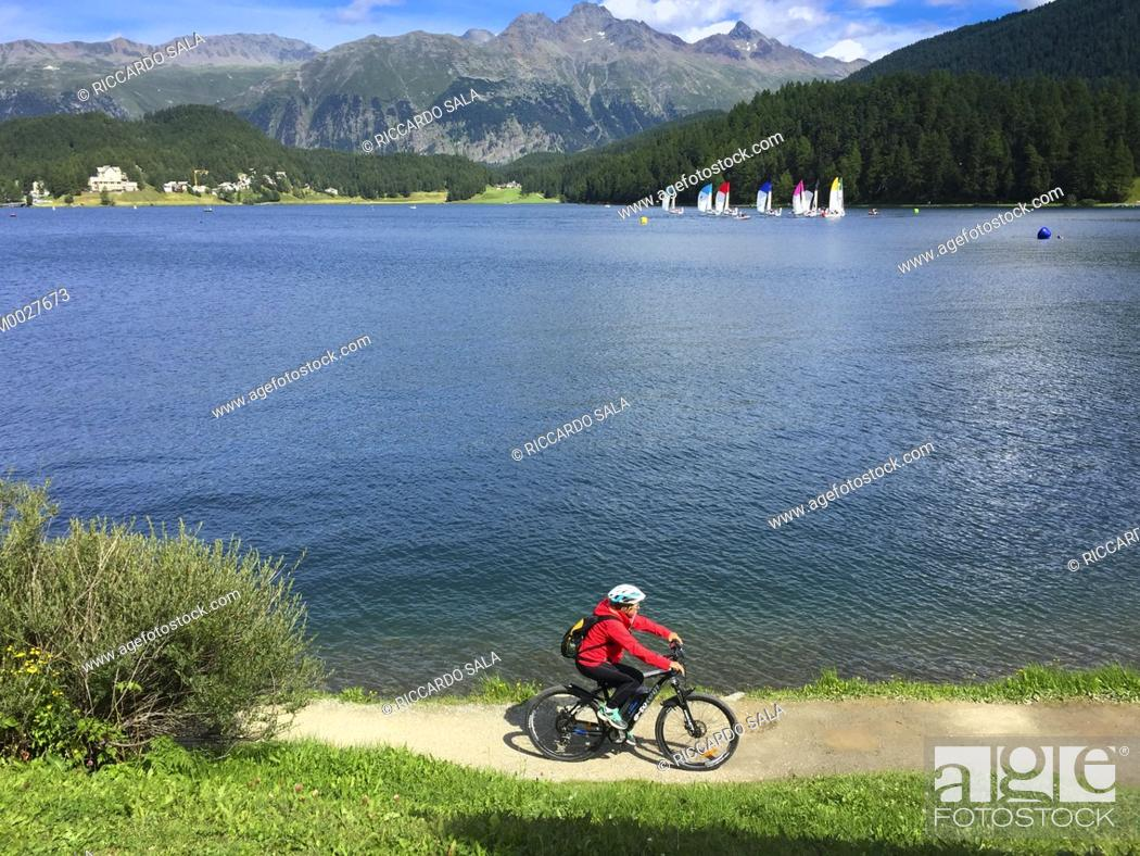 Stock Photo: Switzerland, Graubunden Canton, Saint Moritz, Lake.