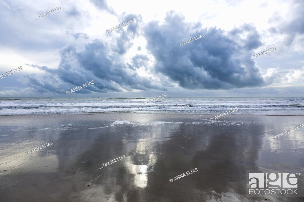 Stock Photo: storm and clouds in the Atlantic ocean, Andalucia, Spain, Europe.