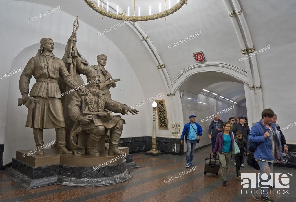 Stock Photo: Statue to World War II heroes at a Metro station in Moscow, Russia.