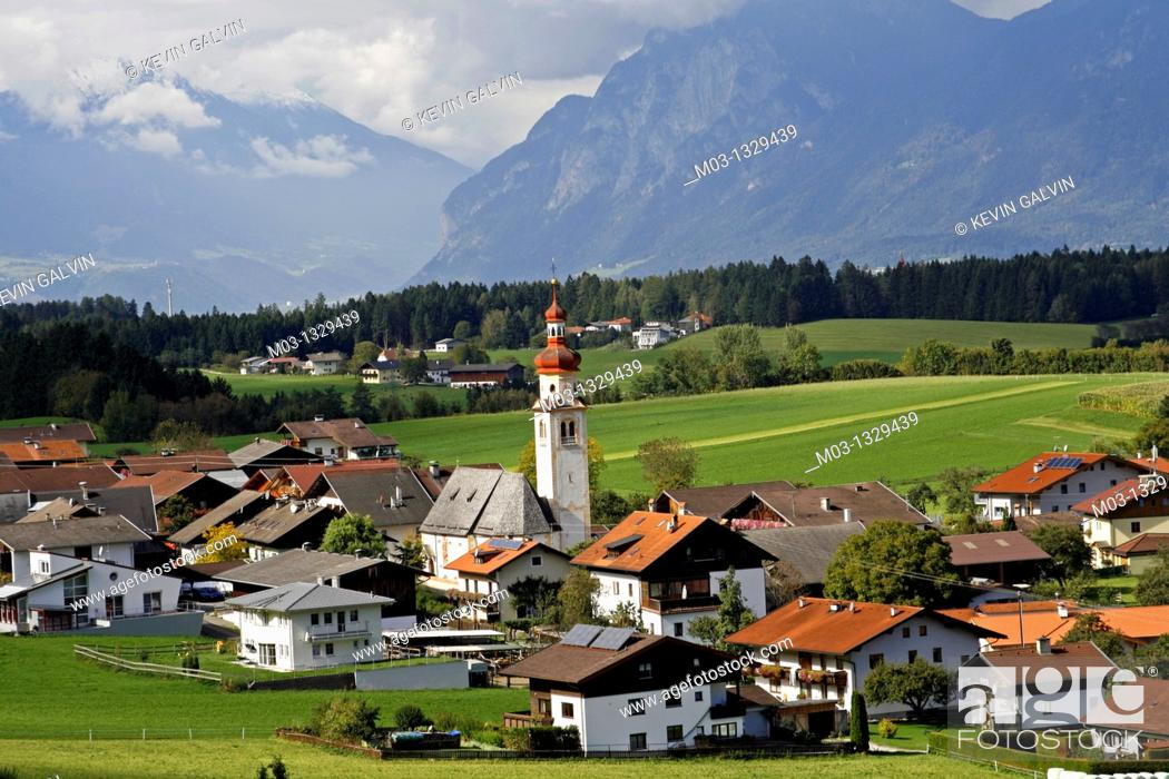 Stock Photo: Small town of Tulfes, Tyrol, Austria.