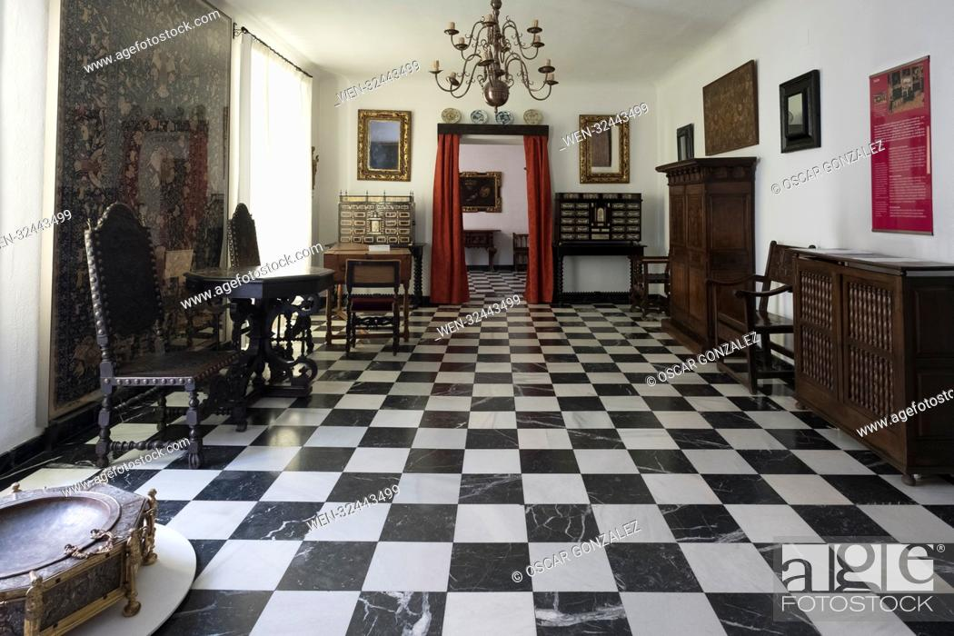 """Stock Photo: National Museum of Decorative Arts of Madrid. illustrates the evolution of the so-called """"""""industrial arts"""""""" (furniture, ceramics and glass, textiles, etc."""