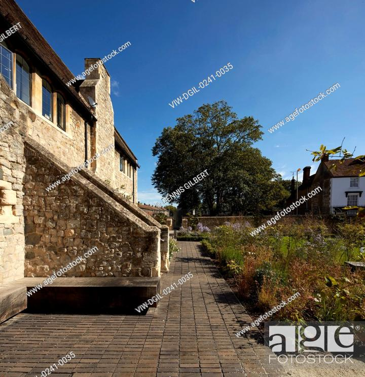 Stock Photo: Garden with Grade II listed building by William Butterfield. Kingsdown House, King's Canterbury, Canterbury, United Kingdom.
