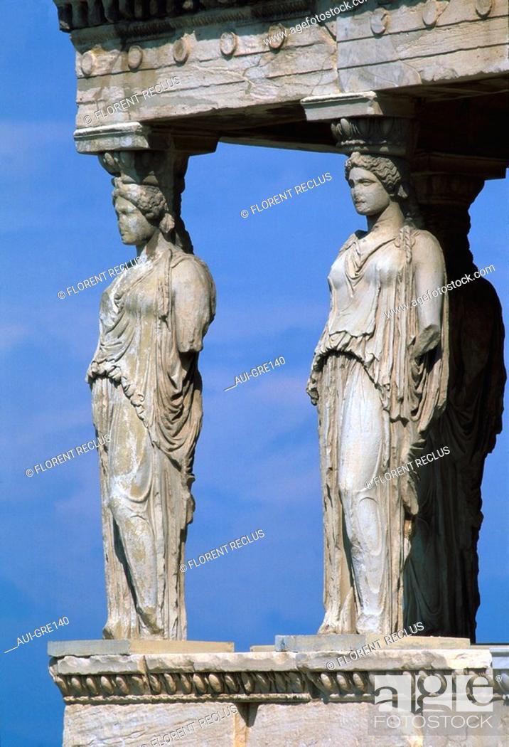 Stock Photo: Greece - Athens - Acropolis - Erechteion - Caryatids.