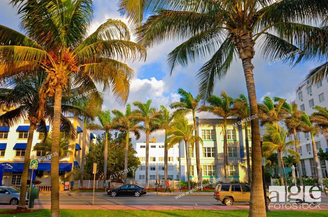 Stock Photo: Park Central Hotel morning time, South Beach, Ocean Drive, Miami, Florida, USA.