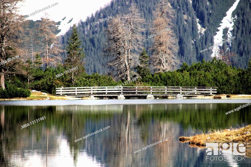Stock Photo: Austria, Tyrol, Ehrwald, Seebensee, Zugspitze, mirroring, water surface, Zugspitz massif, lake, mountain lake, mountains, alps, Wetterstein Mountains.