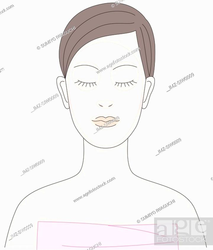 Stock Photo: Young woman with facial mask.