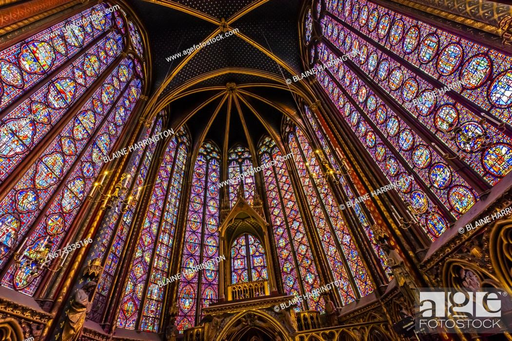 Stock Photo: The Sainte-Chapelle is a royal chapel in the Gothic style, within the medieval Palais de la Cité, the residence of the Kings of France until the 14th century.