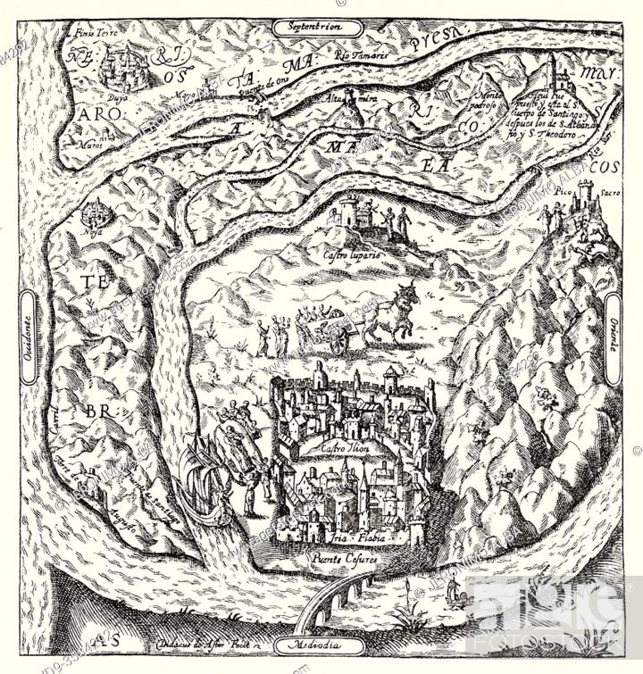 Stock Photo: Map relative to the transfer of the body of the Apostle Santiago according to Mauro Castella Ferrer 1610. Old XIX century engraved illustration from La.