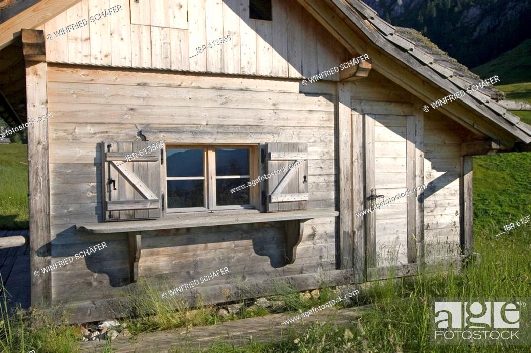 Stock Photo: Cabin detail, Mt. Rotwand meadow, Dolomites, Italy, Europe.
