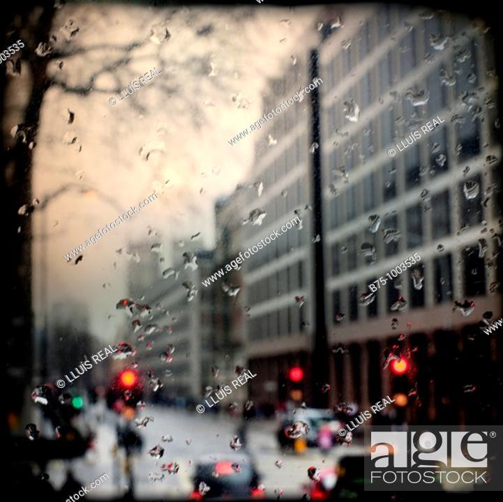 Stock Photo: City rain.
