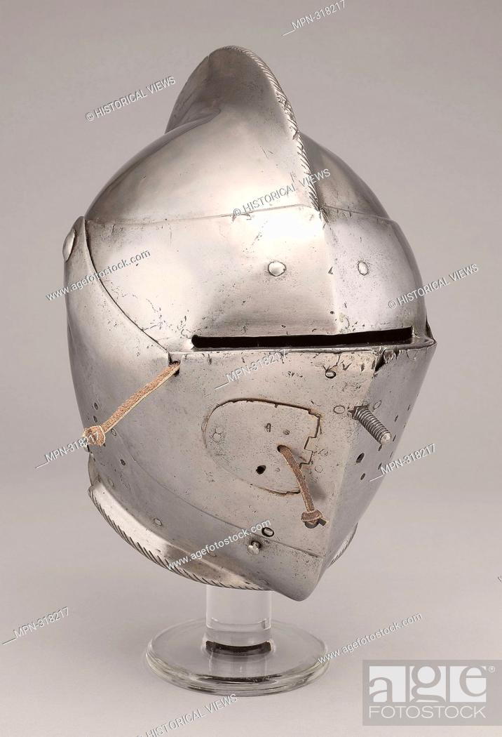 Stock Photo: Close Helmet for the Joust and Tourney - About 1590 - South German; probably Augsburg. Steel and leather. 1580 - 1600.