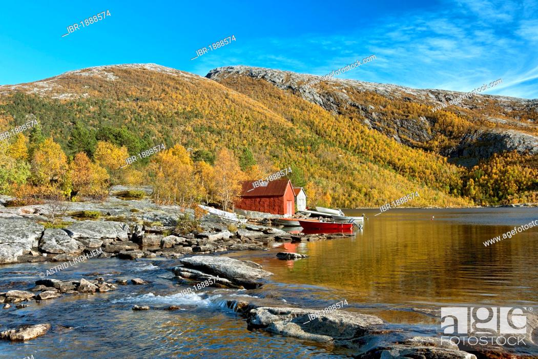 Stock Photo: Fishing cabins by Valnesvatnet Lake, Nordland, Norway, Scandinavia, Europe.