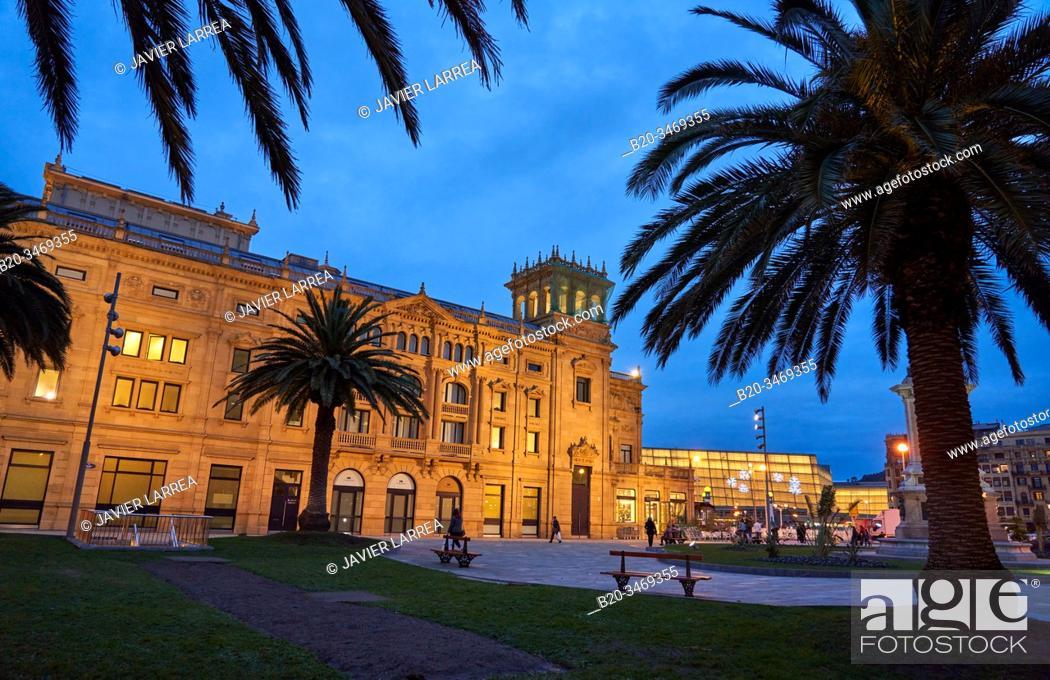 Stock Photo: Victoria Eugenia Theatre, Okendo square, Donostia, San Sebastian, Gipuzkoa, Basque Country, Spain, Europe.