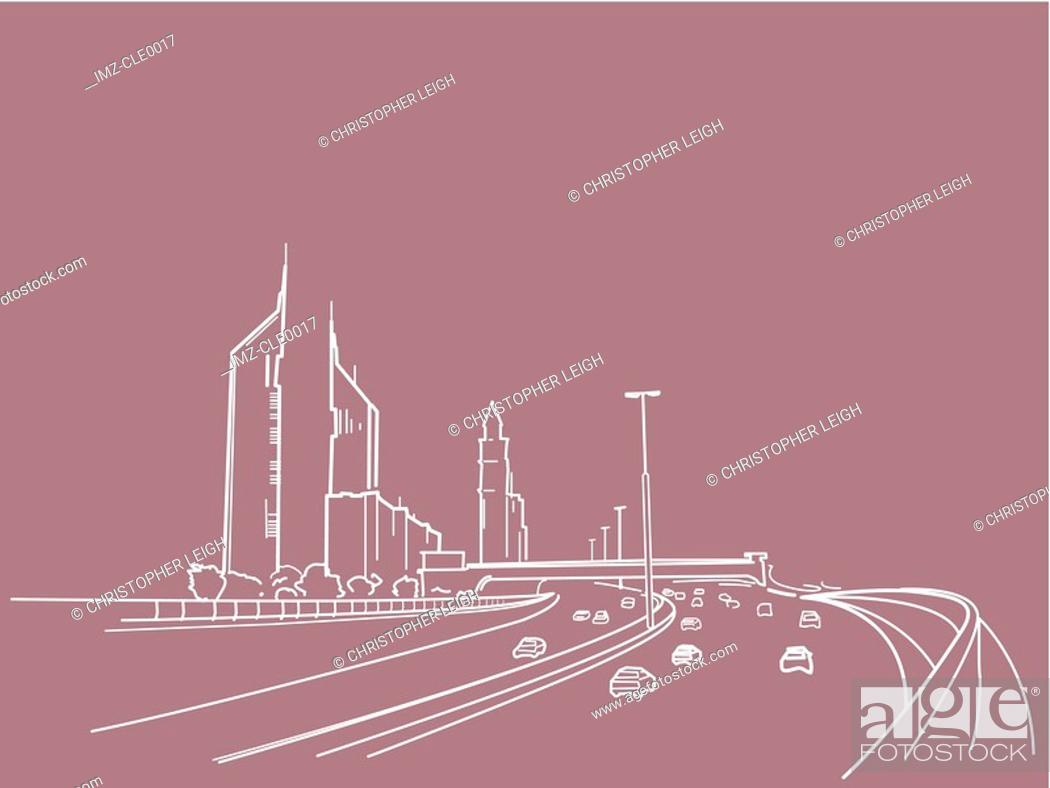 Stock Photo: An illustration of a freeway.