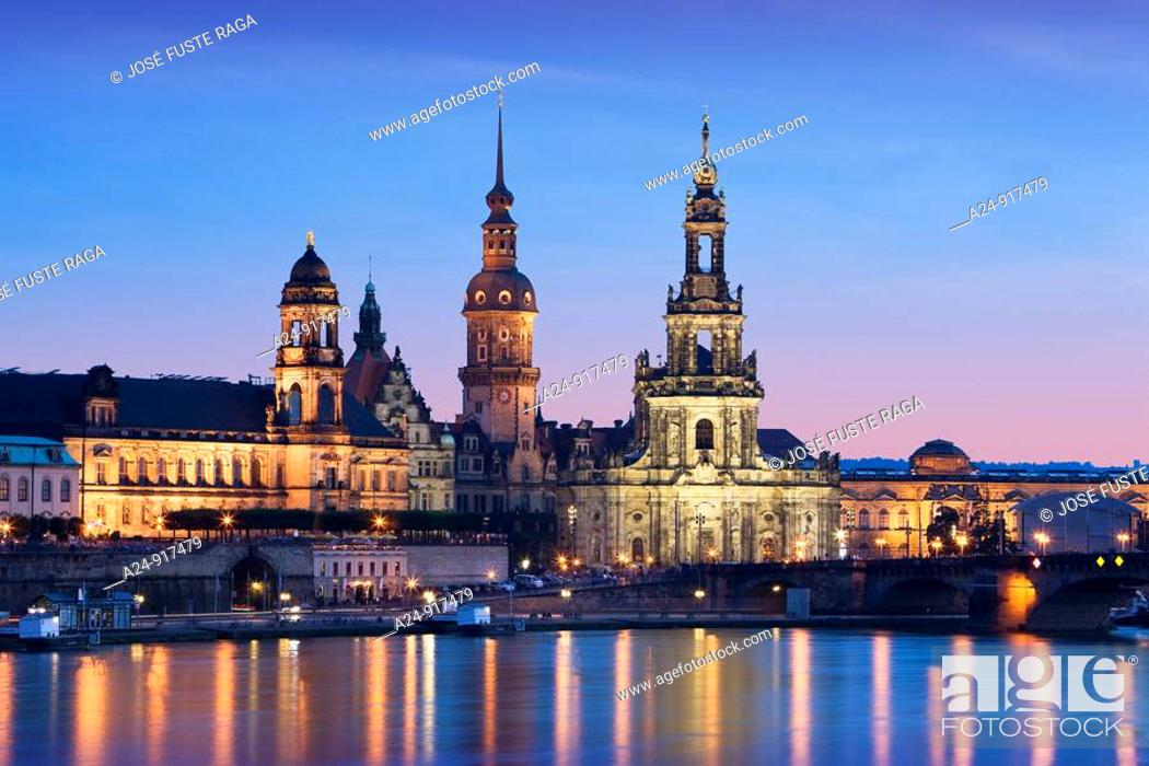 Stock Photo: Dresden at night, Germany.