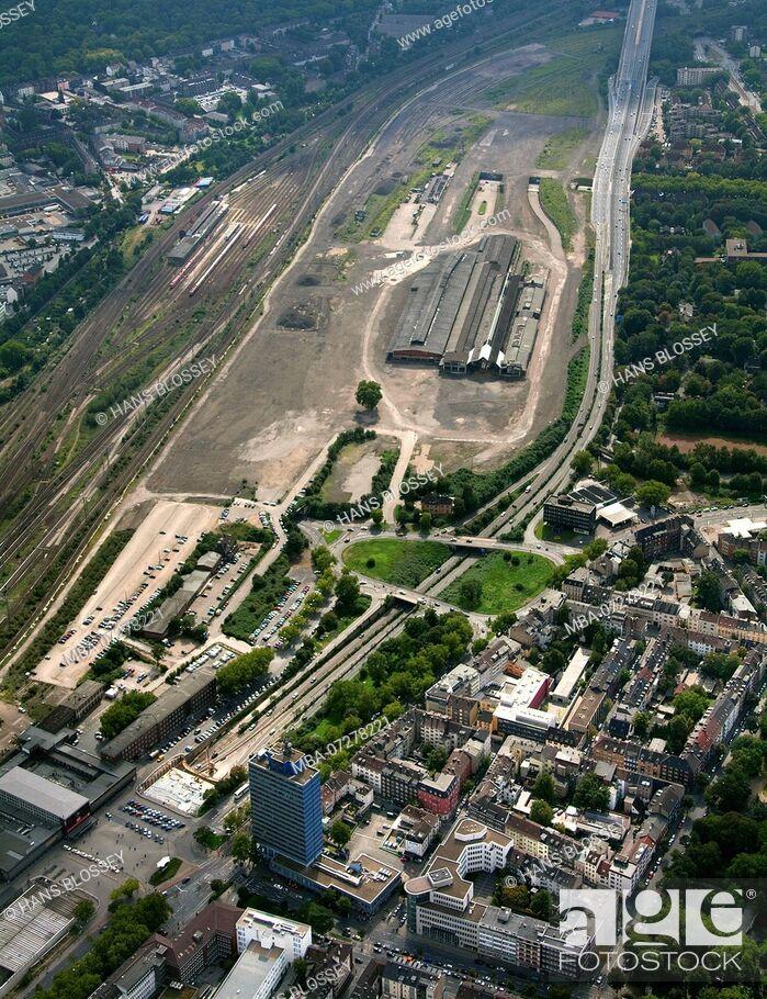 Stock Photo: Aerial view, Love Parade disaster, disaster, responsibility, Love Parade underpass was unblocked, freight station Duisburg, Duisburg, Ruhr area.