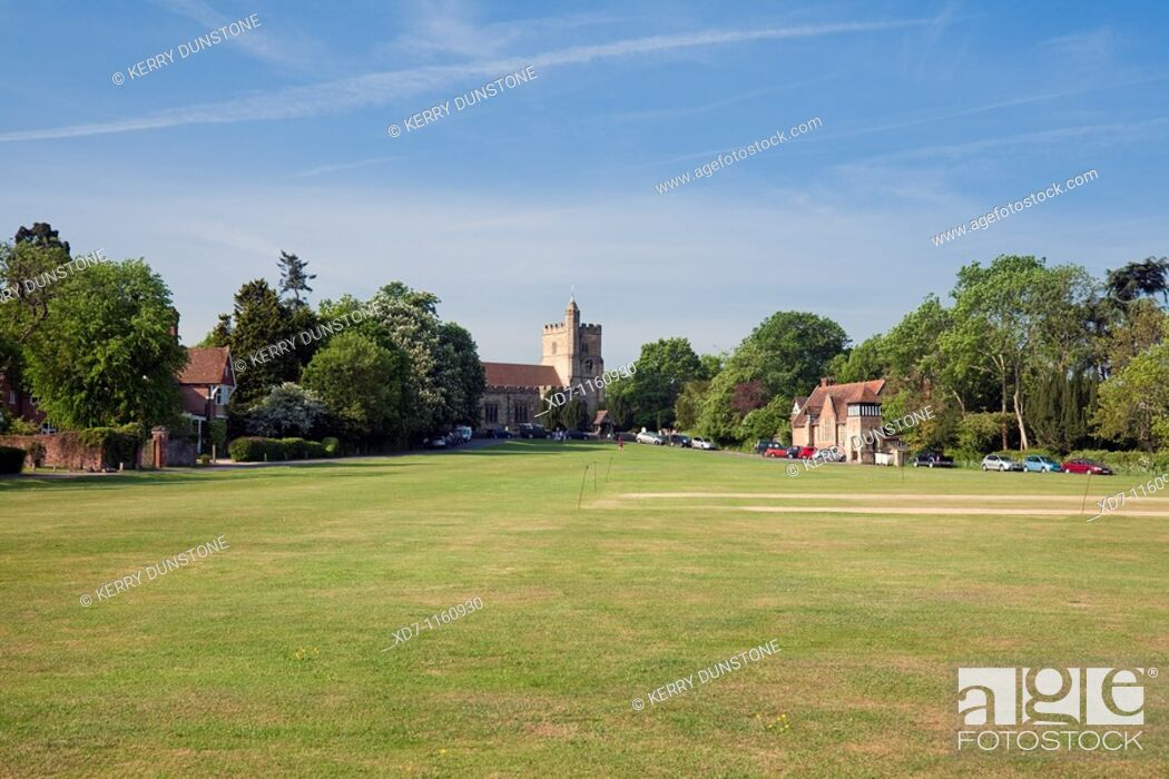 Stock Photo: England Kent Benenden The Green with St  George's Church and Village School Building.