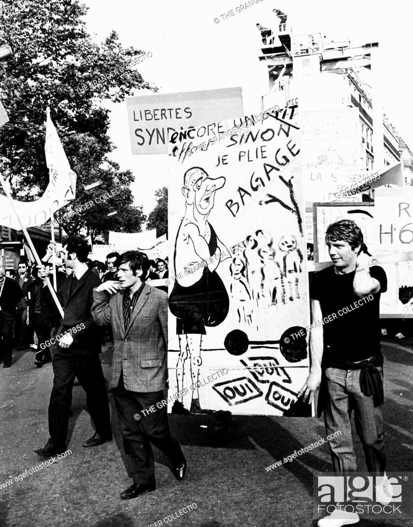 Stock Photo: PARIS STUDENT REVOLT, 1968.Students carrying a caricature of French President Charles de Gaulle as a strongman at a demonstration in Paris, late May 1968.