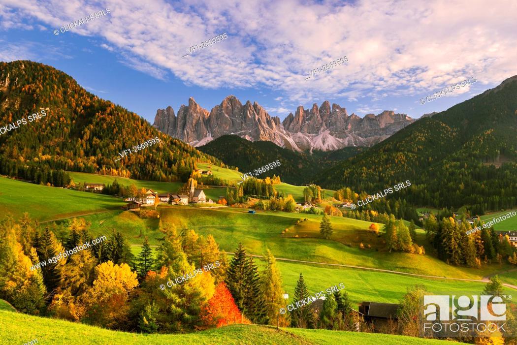 Stock Photo: Italy, South Tyrol, Bolzano district, Funes Valley - Autumn landscape.