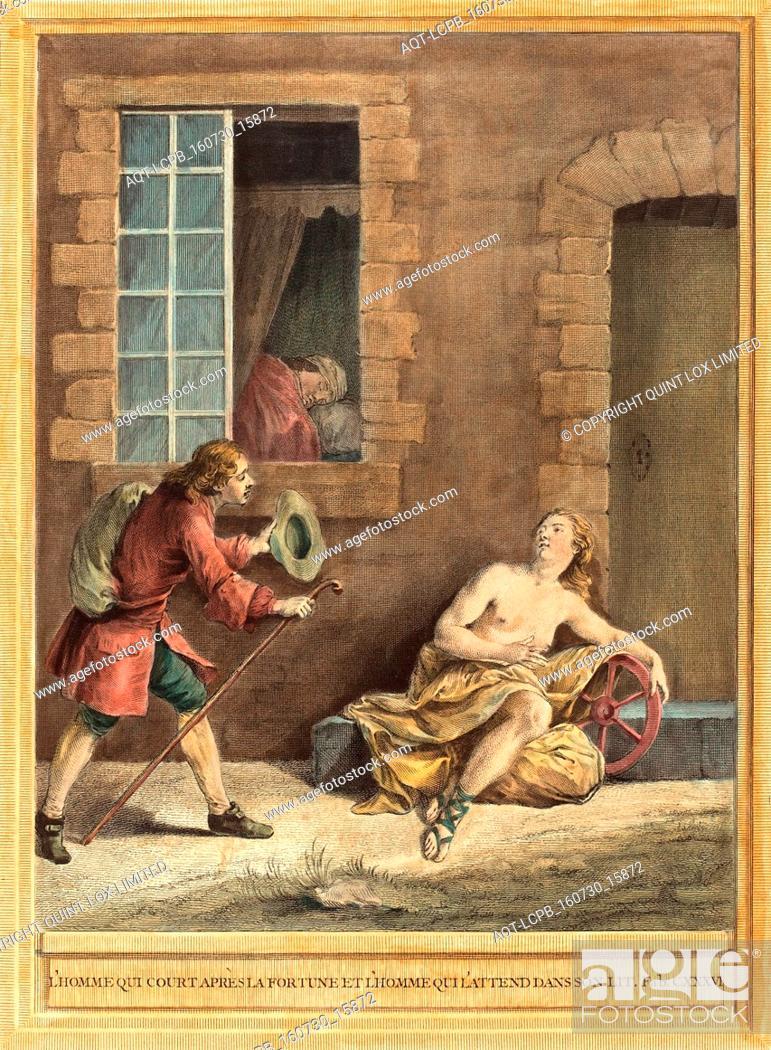 Stock Photo: A.-J. de Fehrt after Jean-Baptiste Oudry (French, born 1723 ), L'homme qui court apres la fortune et l'hommequi l'attend dans son lit (The Man who Courts.