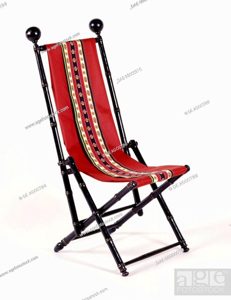 Second Empire Style Napoleon III Blackened Wood Folding Chaise