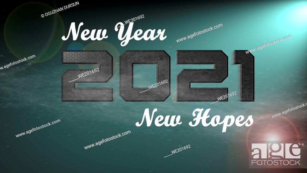 Stock Photo: New Year New Hopes Text on Green Background of 2021 New Year Graphic Card.