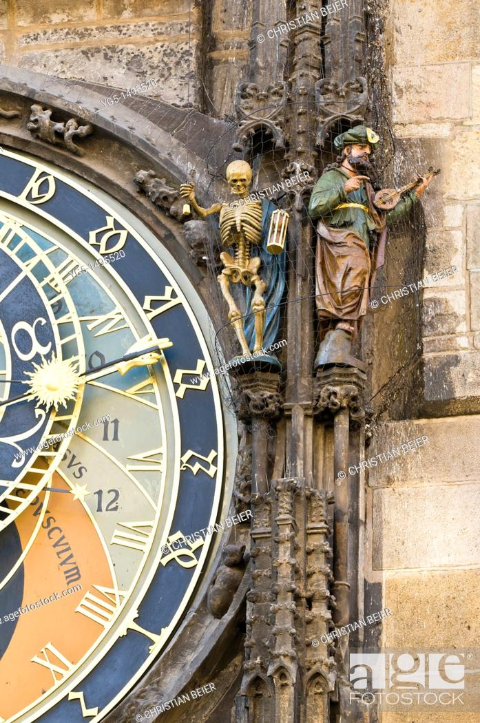Stock Photo: Detail of the Prague Astronomical Clock, Tower of the Old Town Hall, Old Town Square, Prague, Bohemia, Czech Republic.