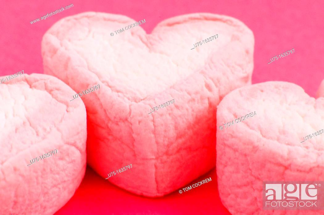 Stock Photo: Heart-shaped marshmallows.