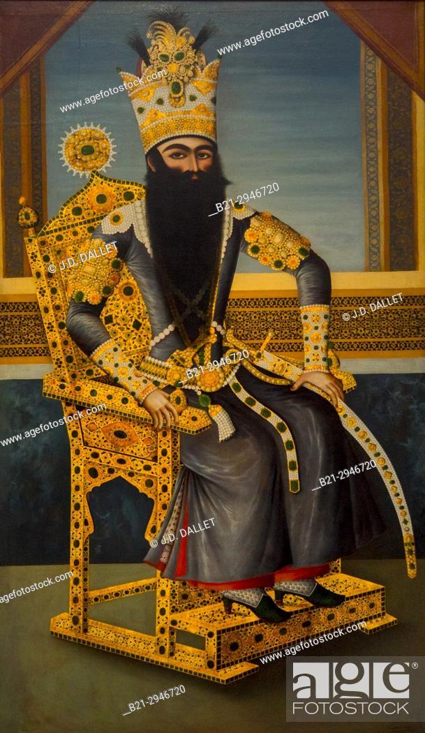 Stock Photo: France, Hauts de France. Pas de Calais. Louvre-Lens Museum: Fat'h Ali Shah (1797-1834) ruler of the Qajar dynasty (canvas attributed to Mihr Ali, activ in Iran.