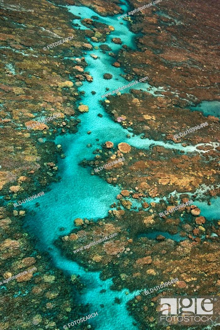 Stock Photo: Aerial view of clear tropical water with coral reef in Maui, Hawaii.