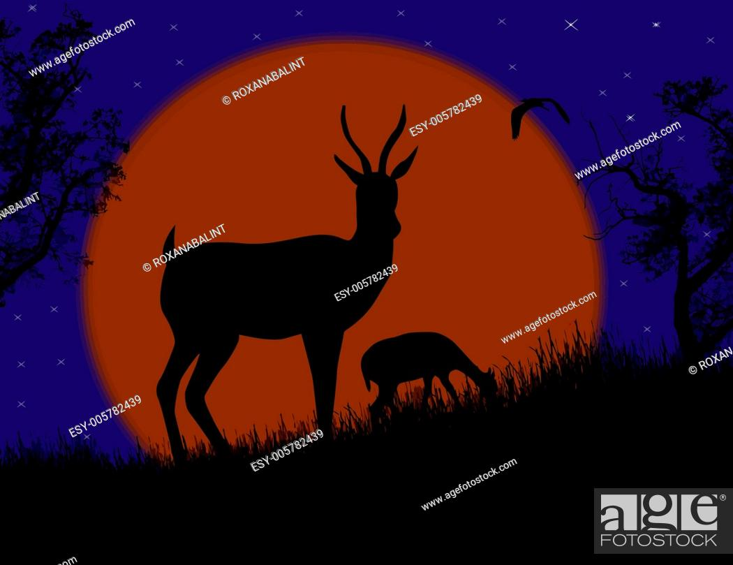 Stock Vector: Gazelle couple in wild nature landscape.