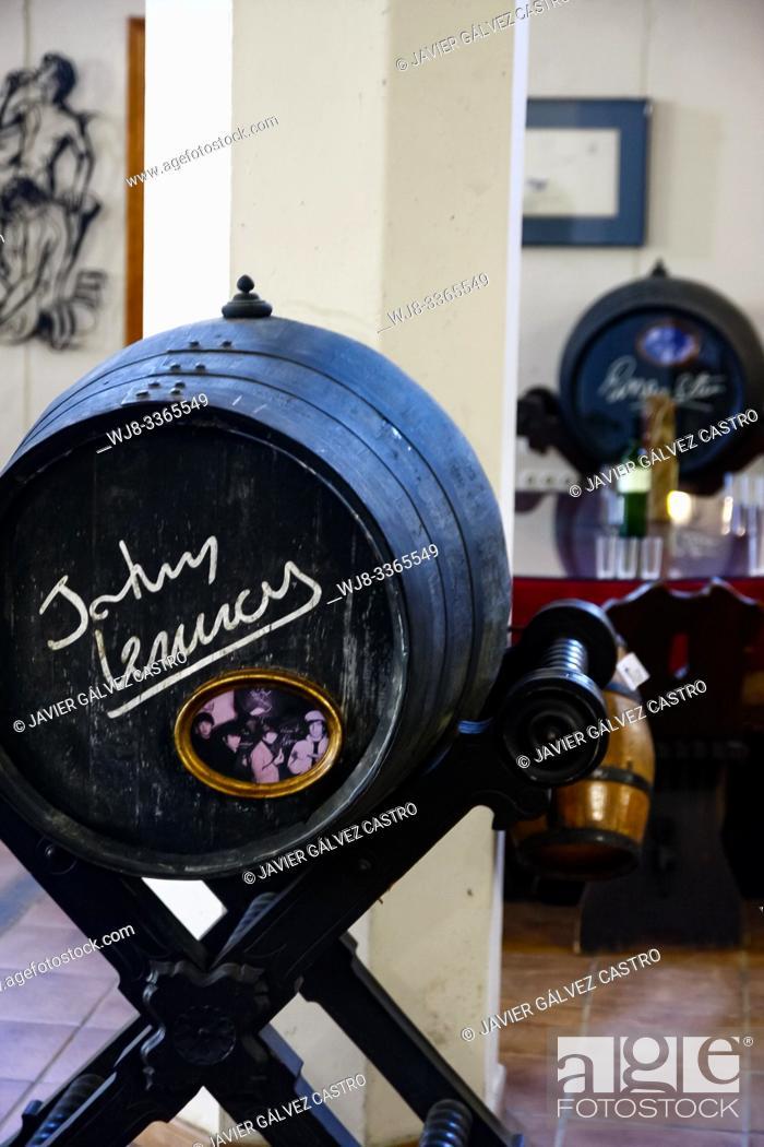 Stock Photo: small wineries in JEREZ-XÉRÃ. S-SHERRY. SHERRY WINES. , single barrels with signature John Lenon.