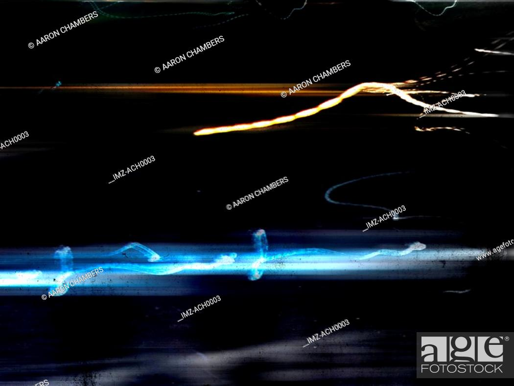 Stock Photo: A representation of electric currents on a dark background.