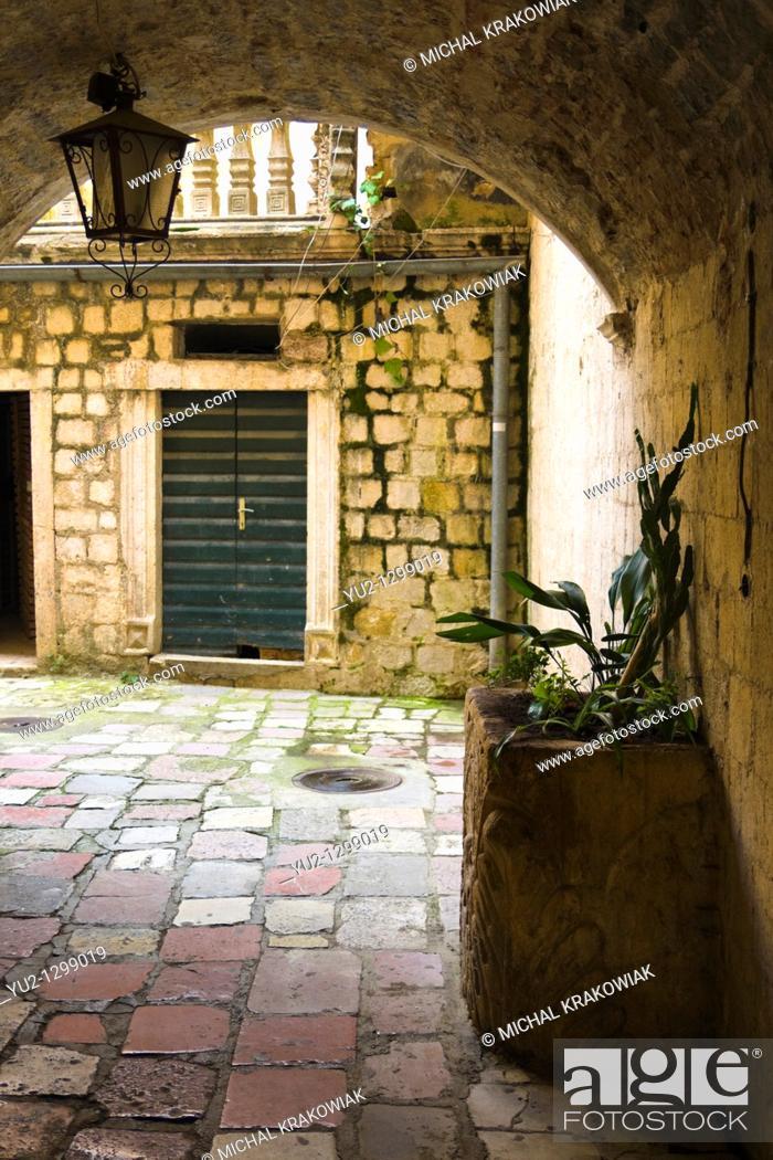 Stock Photo: Street of old town of Kotor, Montenegro.