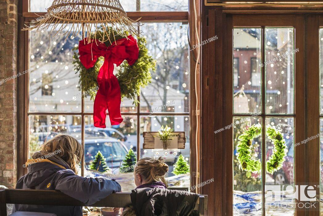 Stock Photo: USA, New England, Massachusetts, Nantucket Island, Nantucket Town, interior of cafe with Christmas decarations, NR.