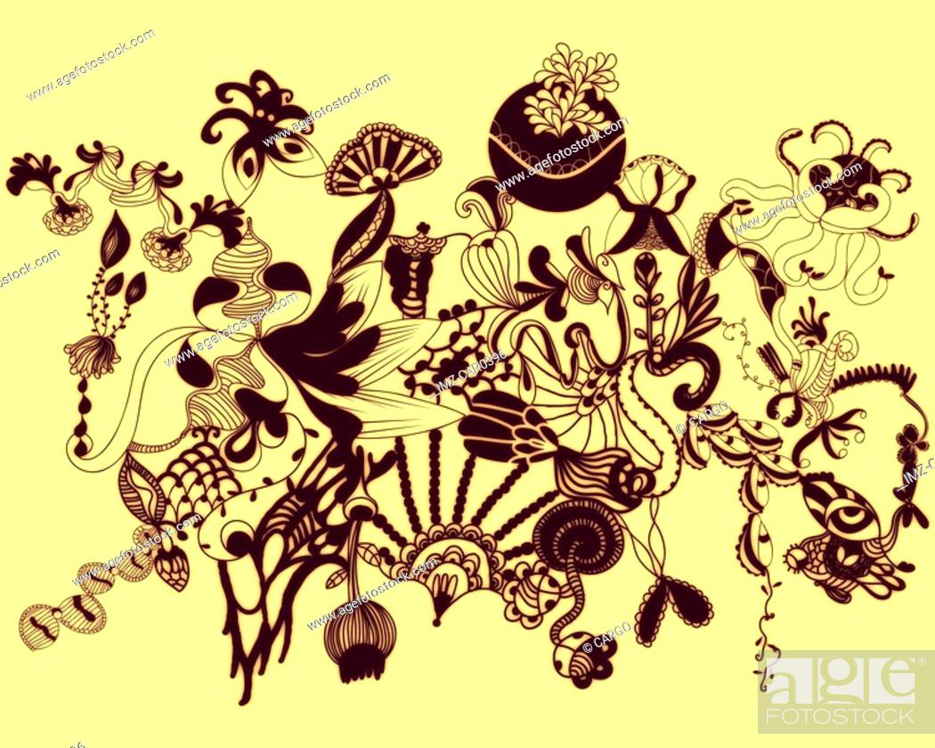 Stock Photo: Yellow abstract organic shapes and patterns.