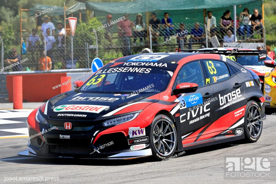 Stock Photo: WTCR 2018: Vila Real. Race of Portugal, Pratice Action. Lessennes, Honda Civic Type R TCR, #63.