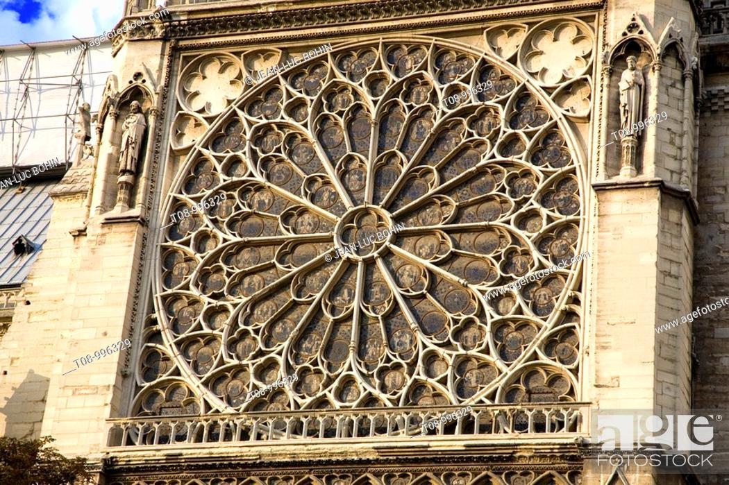 Imagen: france, paris, Notre Dame, façade sud : rose.
