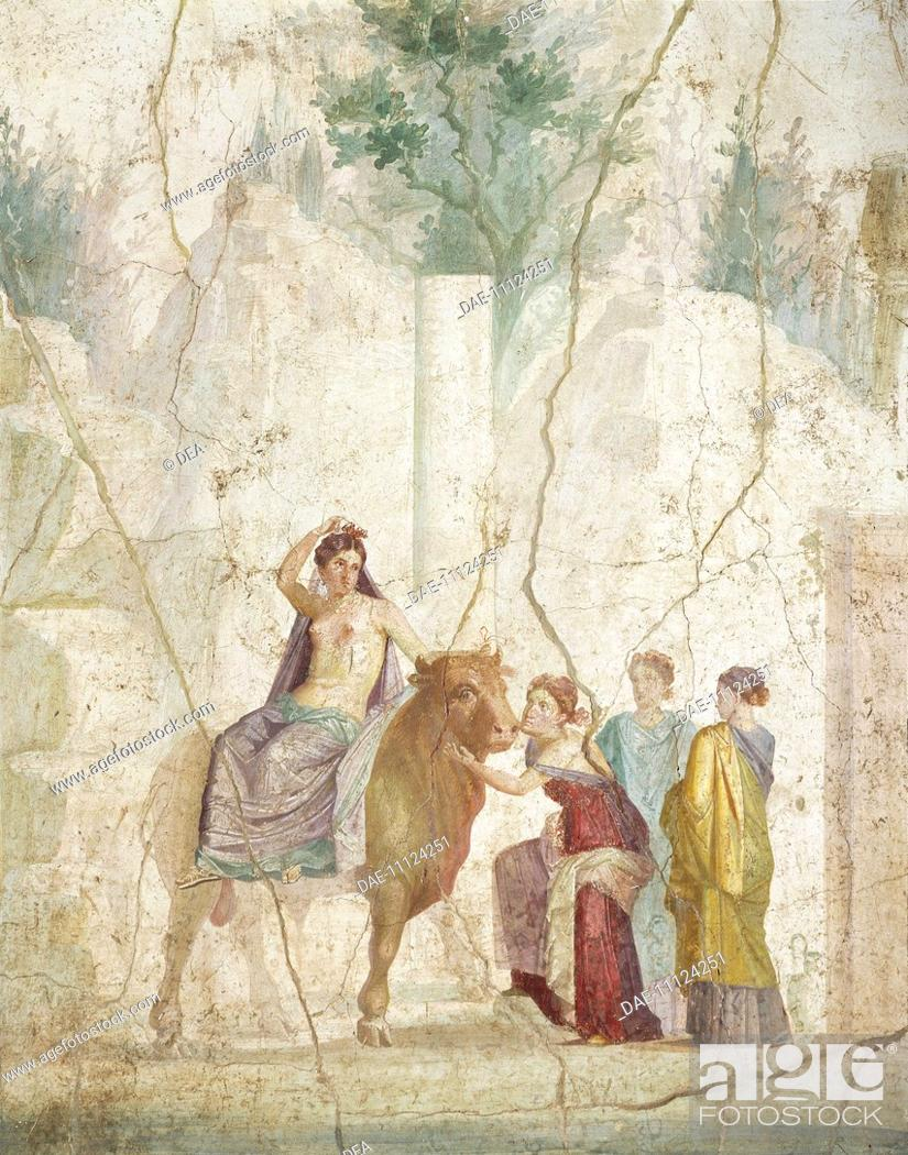 Fresco depicting the rape of europe from pompeii roman stock photo fresco depicting the rape of europe from pompeii roman civilization 1st century naples museo archeologico nazionale archaeological publicscrutiny Images