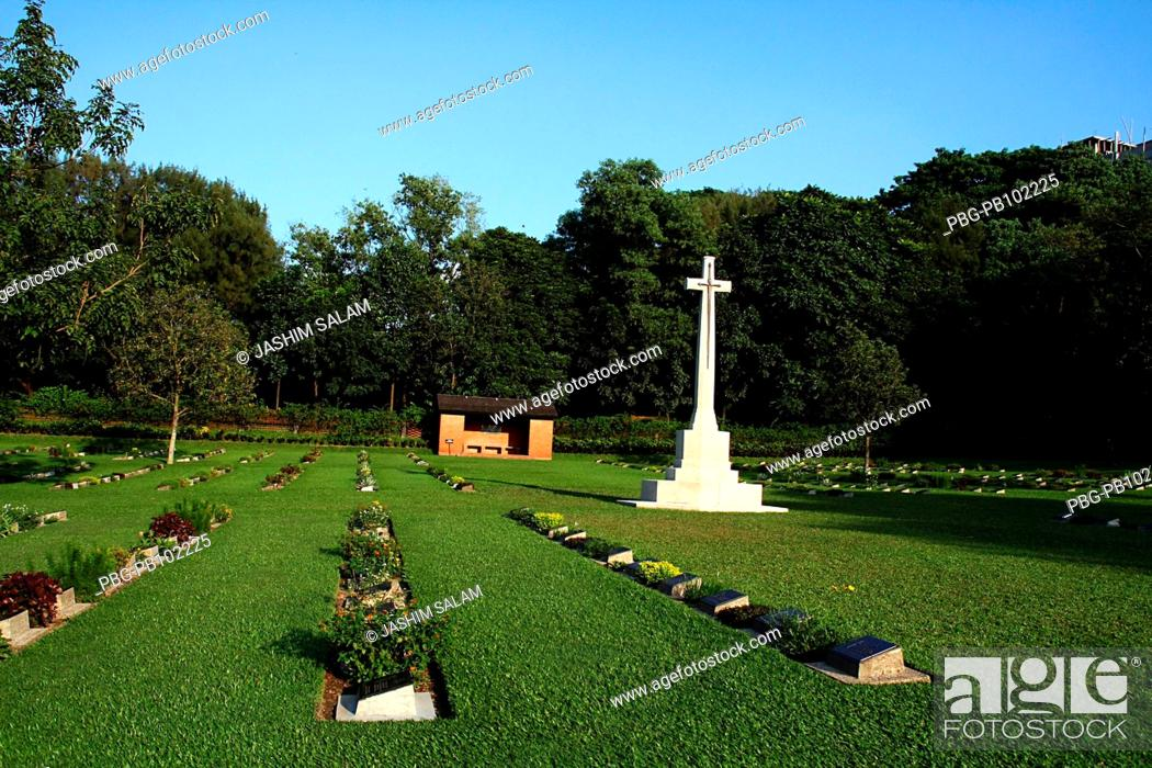 Stock Photo: The Chittagong War Cemetery is a graveyard of martyrs who fought and died in the Second World War during 1939-1945 Chittagong, Bangladesh November 2008.
