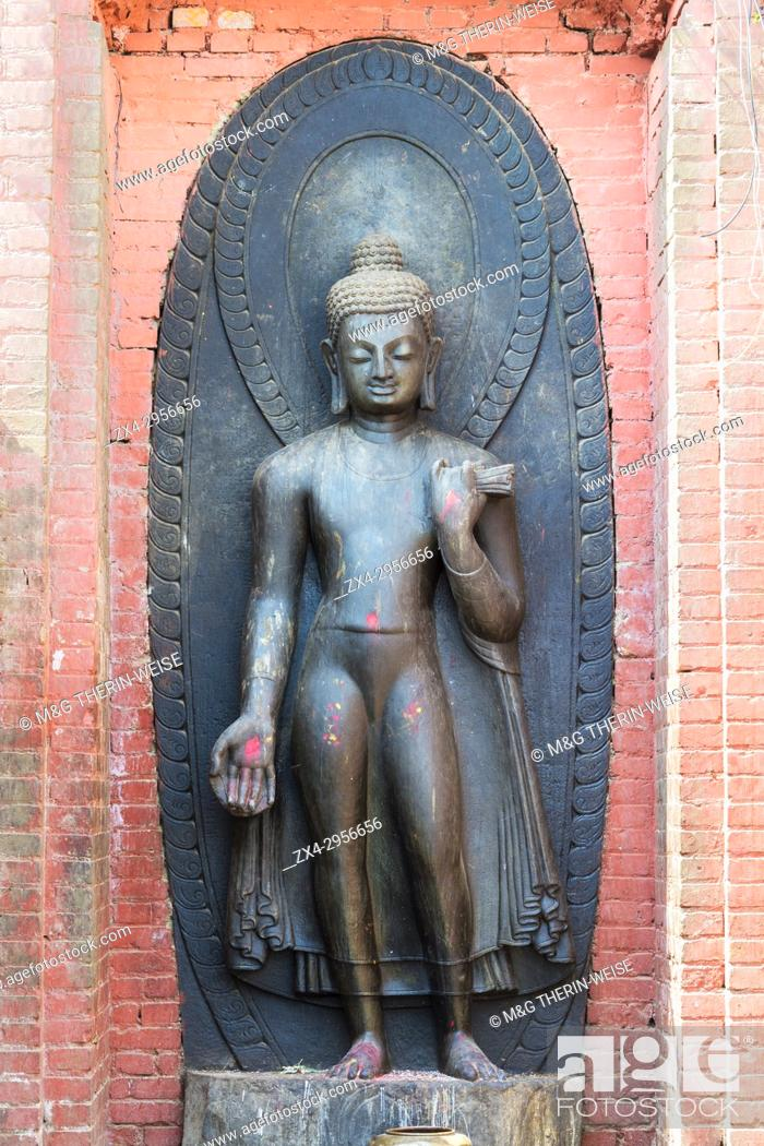 Stock Photo: Dipankara Buddha, Swayambunath or Monkey Temple, Unesco World Heritage Site, Kathmandu, Nepal, Asia.