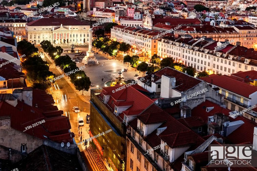 Stock Photo: D. Pedro IV Square , Lisbon, Portugal, Europe.