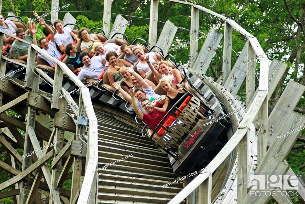 Wooden Roller Coaster In The Dollywood Theme Park Tennessee Usa