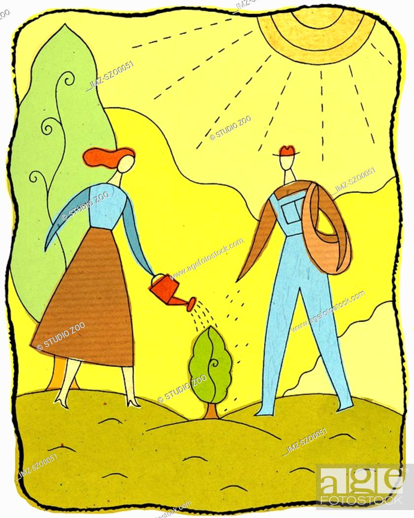 Stock Photo: Man and woman watering a small tree.