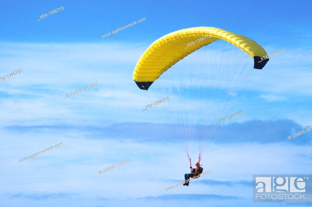Stock Photo: Paraglider flying near Pacifica, California, USA.